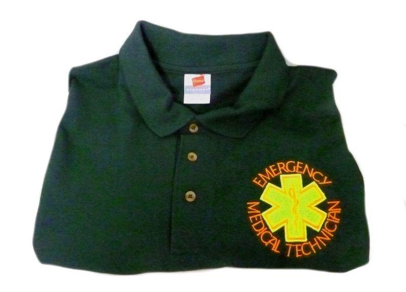 EMT Emergency Medical Technician 2X Star of Life Hunter Green S/S Polo Shirt New - $26.43