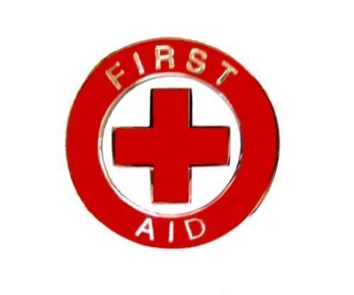 First Aid Red Cross Lapel Collar Pin Device Gold Trim Metal Backs 69G1 New image 1