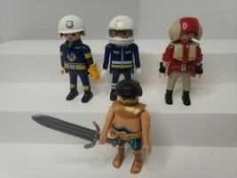 Playmobil Action Figure 4 Lot Firefighters, Pilot, Egyptian  - $14.01