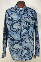 Cubavera Slim Fit Blue Paisley Button Up Casual Camp Club Shirt Mens Siz... - $32.51