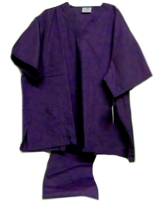 Purple VNeck Top Drawstring Pants SM Unisex Medical Uniforms 2 Piece Scrub Set