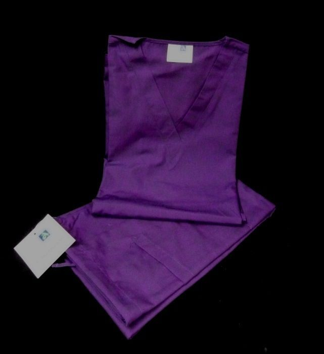 Purple VNeck Top Drawstring Pants SM Unisex Medical Uniforms 2 Piece Scrub Set image 8