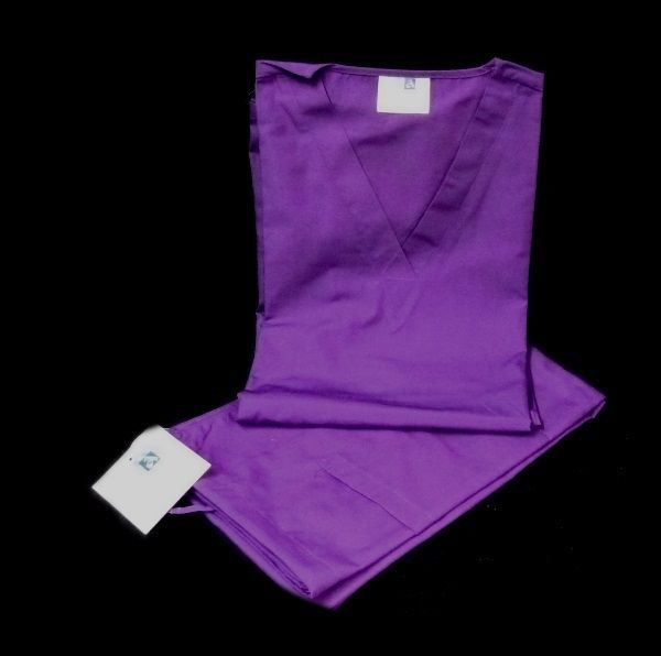 Purple VNeck Top Drawstring Pants SM Unisex Medical Uniforms 2 Piece Scrub Set image 2