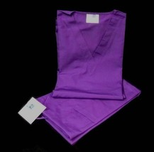 Purple VNeck Top Drawstring Pants SM Unisex Medical Uniforms 2 Piece Scrub Set image 3
