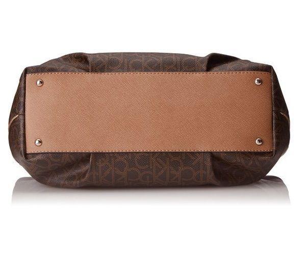 6002ee0758 Calvin Klein Monogram Travel Tote Handbag Hobo Purse satchel Brown CK Logo
