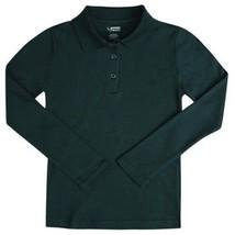 School Uniform Girls 10 L/S Polo Hunter Green French Toast Picot Collar Shirt - $15.49