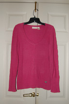 DKNY Jeans Long Sweater V-Neck Pullover Cable Knit Dark Pink Medium - $19.80