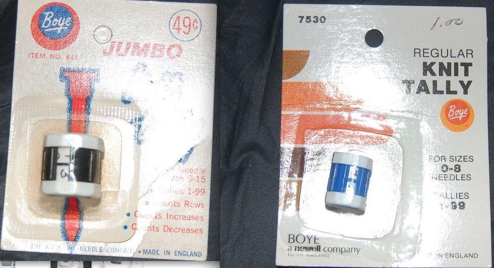 Boye Knit Tallys Set of 2 Regular and Jumbo Vintage - $4.95