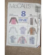 McCall's 7958 Medium 12-14 Misses-8 Blouses Sle... - $5.45