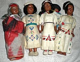 American Indian Dolls -  (Vintage set of 4 Female Indian Dolls) - $10.00