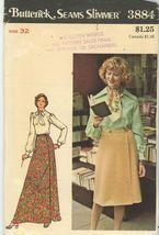 Butterick 3884 Front Wrap Skirt Knee or Full Length Waist 32 Uncut - $5.50