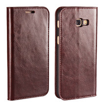 Genuine Leather Wallet Case with Stand For Samsung Galaxy A5 2017 - Coffee  - $10.99