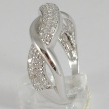 White Gold Ring 750 18k, Veretta with Zircon Cubic, Braided, Wavy image 2