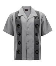 Men's Casual Two Tone Biker Cross Premium Guayabera Bowling Dress Shirt image 5