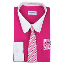 Berlioni Italy Boys Two Toned Kids Toddlers Dress Shirt With Tie & Hanky Set image 5