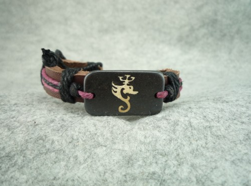 Handmade Tibet style bovine bone Dragon Style leather Hand Rope pink Belt