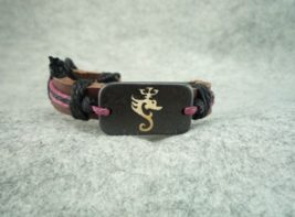 Handmade Tibet style bovine bone Dragon Style leather Hand Rope pink Belt - $5.00