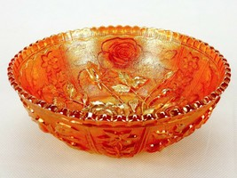 "Vintage Marigold Carnival Glass Saw Tooth Edge Bowl 7"" Bowl  - $19.55"