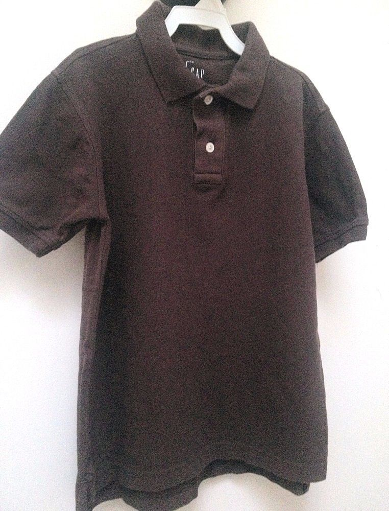 Gap Boys M 8 Polo Shirt Brown Short Sleeve School