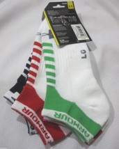 Under Armour Mens White Socks 3 Pair No Show Large Size 9-12 1/2 NEW - $11.99
