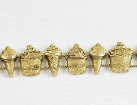 Charm Bracelet, Ice Cream Treats ~ TOFA Classic Slider, Gold Toned #5430630 - $9.75
