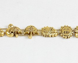Charm Bracelet, A Week Of Weather ~ TOFA Classic Slider, Gold Toned #543... - $9.75