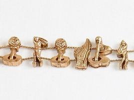 """Charm Bracelet  """"Golfer's Gear"""" ~ TOFA Classic Slider w/Bronze Tone #543... - $9.75"""