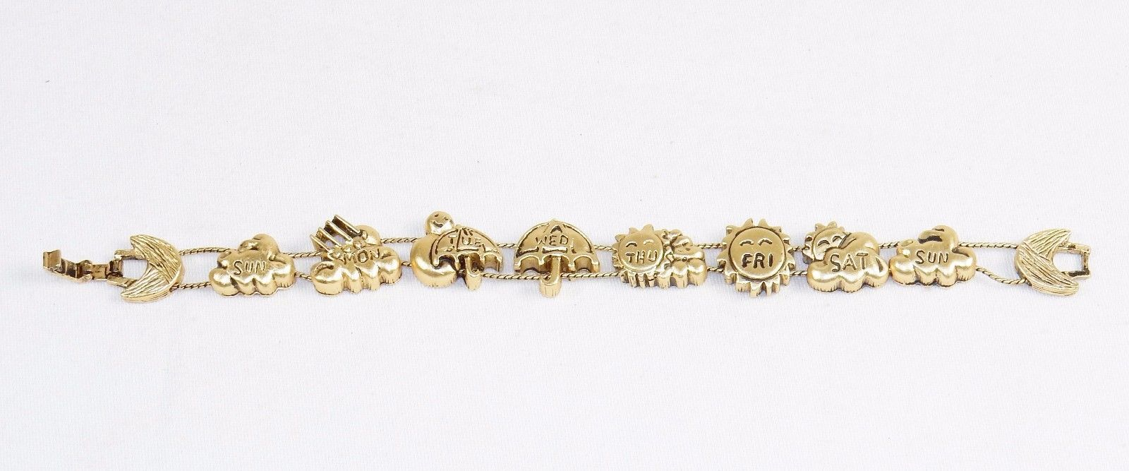 Charm Bracelet, A Week Of Weather ~ TOFA Classic Slider, Gold Toned #5430640