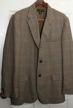 J Crew Houndstooth Men Sport Jacket Blazer 42 Stunning Fabric Wool Black Brown - $28.71