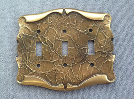 Vintage Brass Amerock Carriage House Triple Switchplate Cover - $21.15