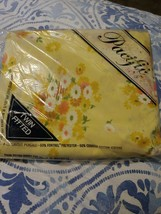 Vtg Fitted Pacific Percale Twin Bed Sheet Yellow Floral MCM Modern seale... - $20.56