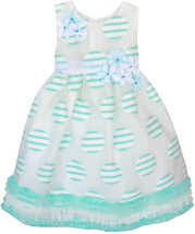 Isobella & Chloe Little Girls 2T-6X Turquoise-Blue Stripe Dot Social Party Dress