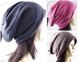 1 Pack Unisex Winter Long Stripe Light Soft Beanie Beret Hat Slouchy Cap - $7.99