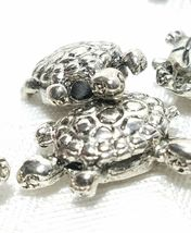 TURTLE BEAD FINE PEWTER BEAD - BRIGHT SILVER FINISH - 14mm L x 15mm W x 10mm D image 3