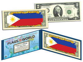 PHILIPPINES - Flags of the World Genuine Legal Tender U.S. $2 Bill Currency - $13.81