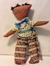 Vintage Crude Handmade Cloth Folk Art Black Male Doll - Island Tourist S... - $14.50
