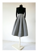 Women Black Houndstooth Skirt Winter Houndstooth Pleated Skirt Wool Party Skirt image 4