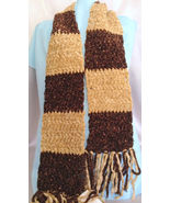 Handmade Chenille Crochet Scarf Chocolate and K... - $38.00
