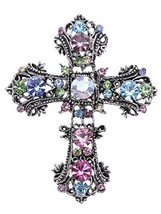 Alilang Antique Silvery Tone Multi Rhinestones Colorful Holy Cross Brooc... - $24.09