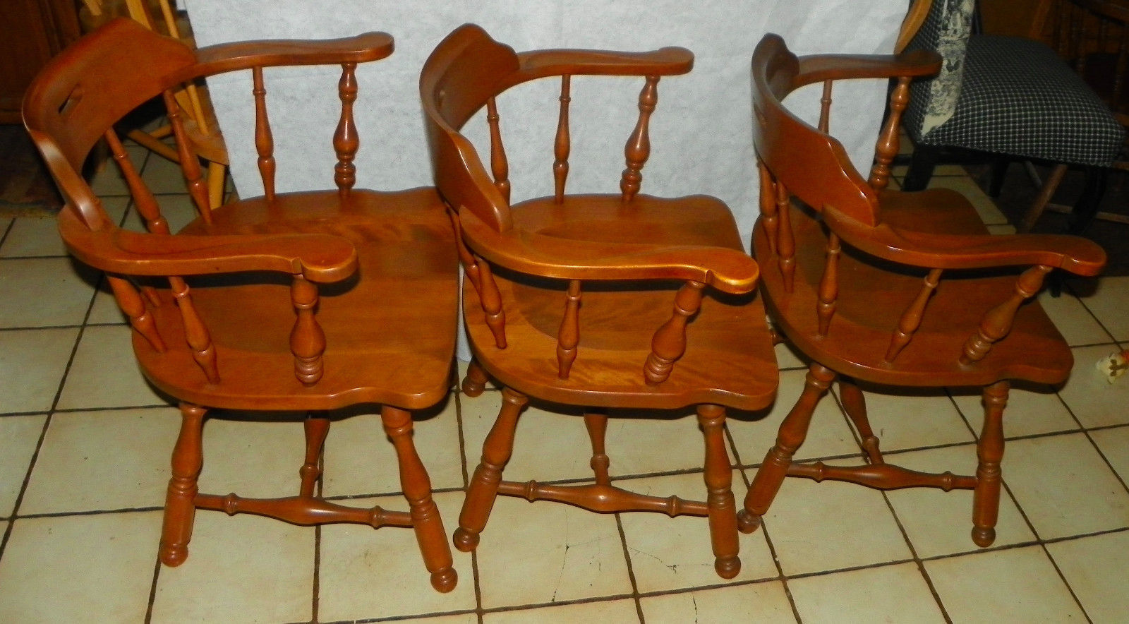 Set of 3 Ethan Allen Maple Armchairs / Chairs  (RP)