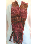 Handmade Chenille Crochet Scarf Chocolate and S... - $44.00