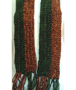 Handmade Chenille Crochet Scarf Chocolate and G... - $38.00