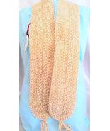 Handmade Chenille Crochet Scarf Champagne Beige... - $44.00