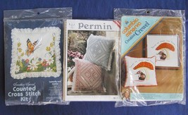 3  VINTAGE PERMIN, CANDAMAR and COLUMBIA-MINERVA NEEDLEPOINT, CREWEL PIL... - $25.00