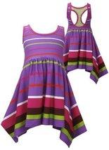Bonnie Jean Little Girls 2T-6X Purple Stripe Racerback Shark-Bite Knit Dress