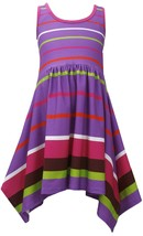 Bonnie Jean Little Girls 2T-6X Purple Stripe Racerback Shark-Bite Knit Dress