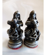 VTG Pewter metal Silver color Asian Chineese Chess Piece figurine pawn s... - $23.76