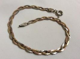 "Sterling Silver  925 tri color Link braid  signed  ITALY 7"" bracelet - $21.88"
