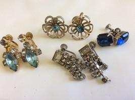 VTG Lot of 4 Czech Blue Crystal Rhinestones silver tone screw clips earrings - $34.65