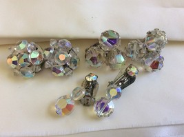 VTG  Lot of 3 Aurora Borealis Crystal beads Round Cluster charm clip on Earrings - $51.48